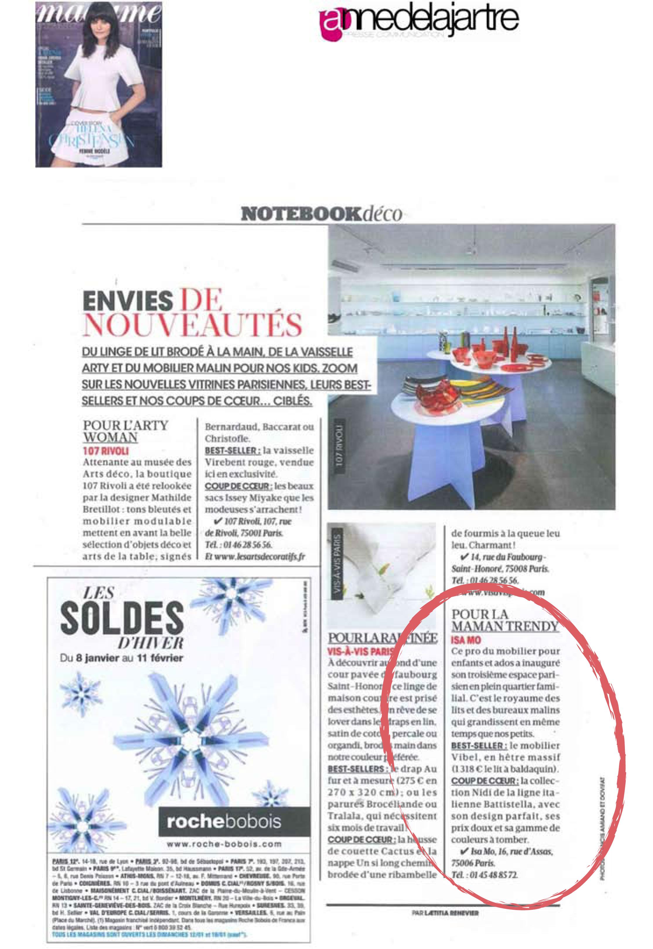 Parution Madame Figaro de Janvier 2014